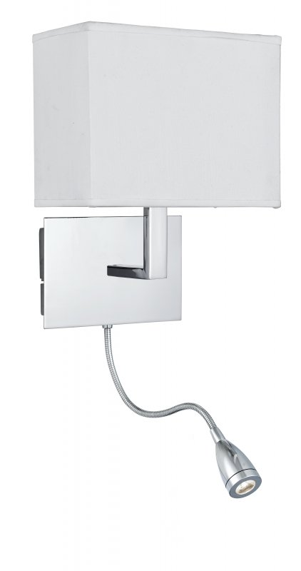 Searchlight Duel Arm 2 Light Chrome Wall Light With White