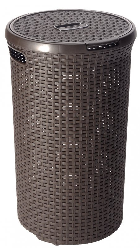 Curver Style Rattan Round Laundry Hamper 48l Brown At