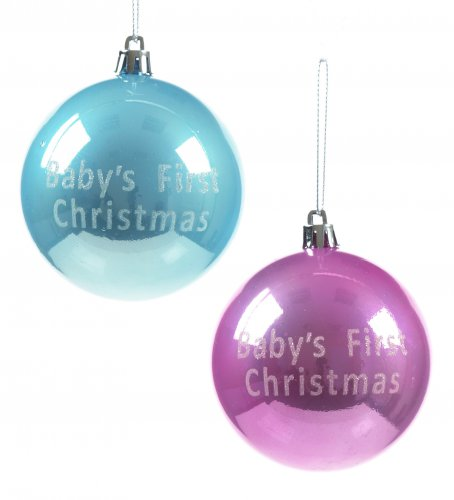 premier decorations baby's first christmas bauble 80mm -