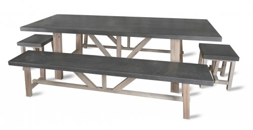 Garden Trading Chilson Table and Bench Set Large - Cement Fibre