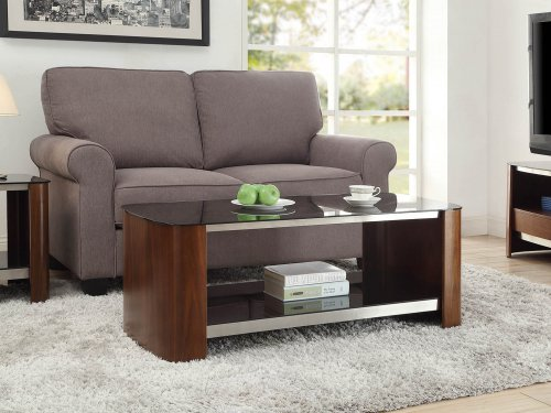 Jual Melbourne Chrome Coffee Table in Walnut & Black Glass