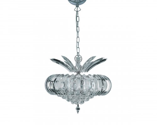 Searchlight Sigma 5 Light Chrome Pendant with Clear Acrylic Prisms