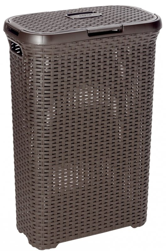 Curver Style Rattan Laundry Hamper 40l Brown At