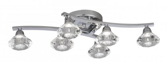 Searchlight Sculptured Ice 6 Light Chrome Flush Ceiling Light with Clear Glass