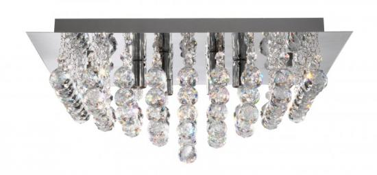 Searchlight 4 Light Chrome Square Flush Ceiling Light with Crystal Balls