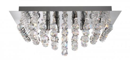 Searchlight 6 Light Chrome Square Flush Ceiling Light with Crystal Balls
