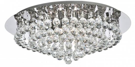 Searchlight Hanna 8 Light Chrome Flush Fitting Ceiling Light with Crystal Balls