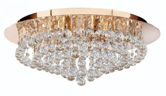 Searchlight Hanna 8 Light Gold Flush Fitting Ceiling Light with Clear Crystal Balls