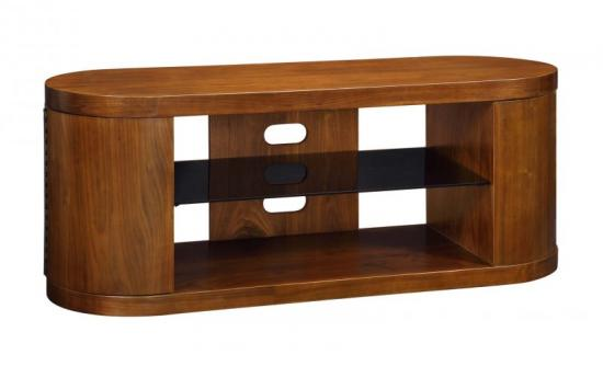 Jual Florence Walnut & Black Glass Curved Wood TV Cabinet - For 50
