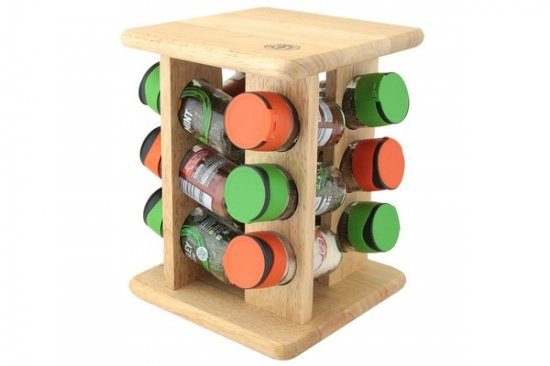 Apollo Housewares Filled Spice Carousel Rubber Wood 12 Jars