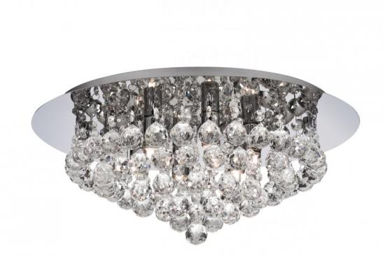 Searchlight Hanna 6 Light Chrome Flush Fitting Ceiling Light with Clear Crystal Balls