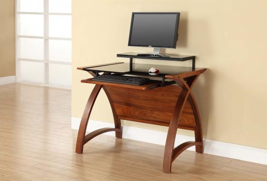 Jual Helsinki Curve Walnut & Black Glass Curved Wood 900mm Computer Desk