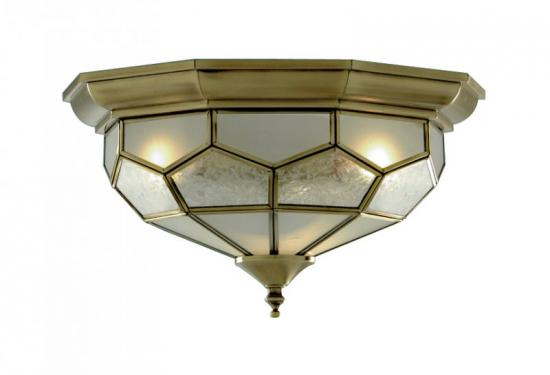 Searchlight Flush Antique Brass Leaded