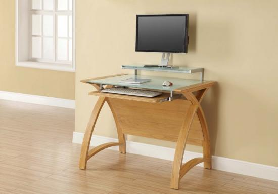 Jual Helsinki Curve Oak & White Glass Curved Wood 900mm Computer Desk