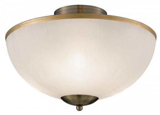 Searchlight Brahama 3 Light Antique Brass Flush Ceiling Light with Acid Glass Shade