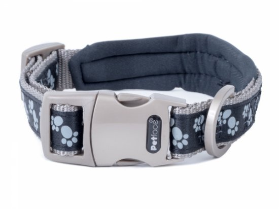 Petface Signature Padded Black Paws Collar - Small