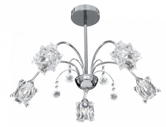 Searchlight Frost 5 Light Chrome Semi Flush Ceiling Light with Glass Shades