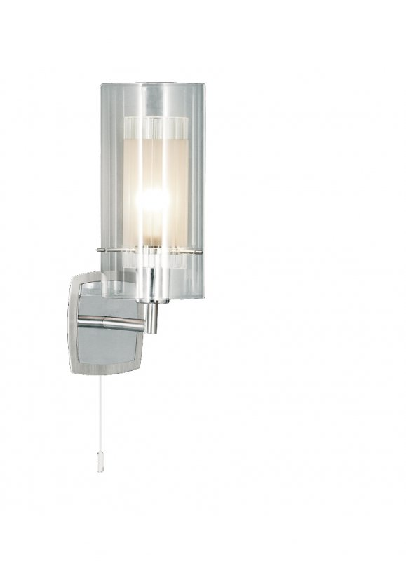 Searchlight Duo 1 Light Satin Silver Double Glass Wall