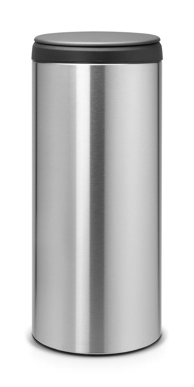 Brabantia 30 litre flip bin in fingerprint proof matt for Dark grey bathroom bin