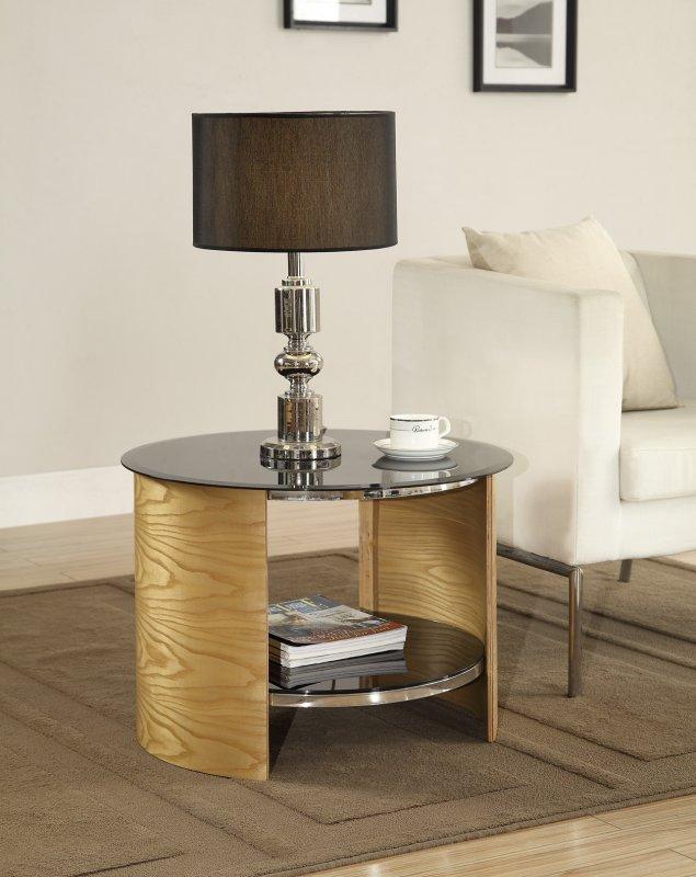 Jual San Marino Oak Amp Black Glass Curved Wood Round Lamp