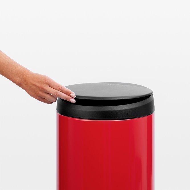 Brabantia 30 litre flip bin in passion red with dark grey for Dark grey bathroom bin