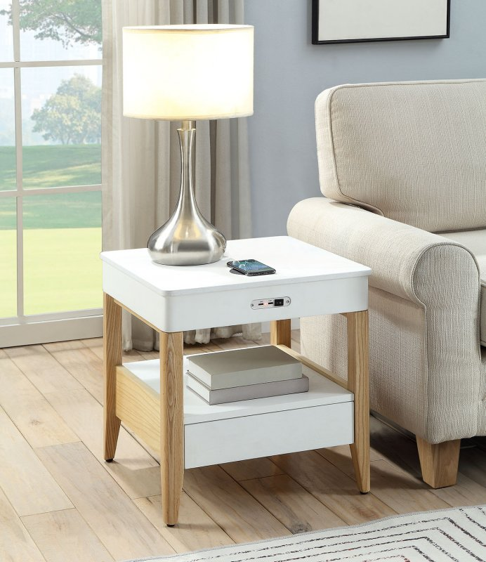 Jual San Francisco BedsideLamp Table with USB, Wireless