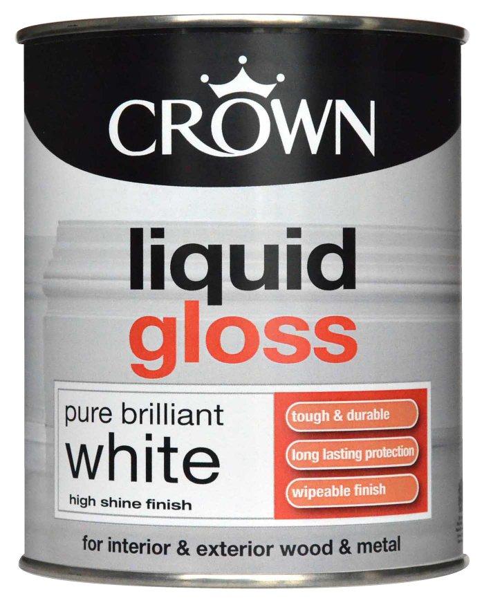 Crown Liquid Gloss Brilliant White Paint 750ml At Barnitts