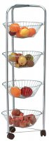 Apollo Housewares Chrome Veg Trolley 4 Tier