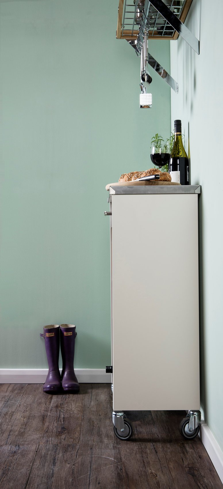 Hahn DHO Chelsea Kitchen Trolley in Stainless Steel & Ivory White at ...