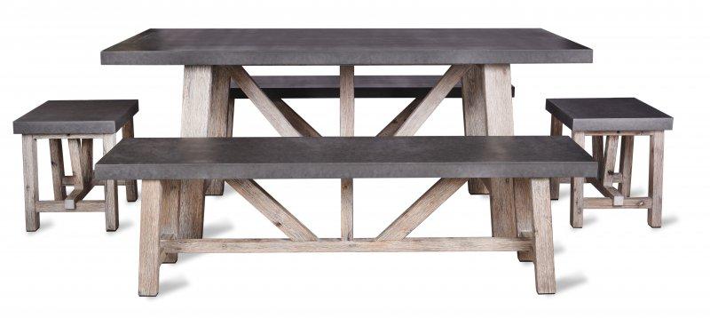 Fantastic Garden Trading Chilson Table And Bench Set Small Cement Inzonedesignstudio Interior Chair Design Inzonedesignstudiocom