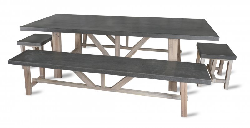 Fantastic Garden Trading Chilson Table And Bench Set Large Cement Fibre Inzonedesignstudio Interior Chair Design Inzonedesignstudiocom