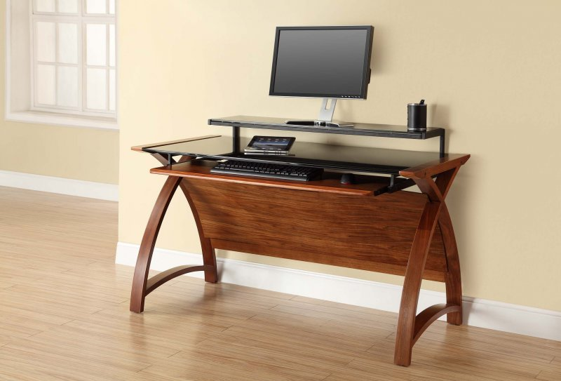 Jual Curve Walnut Black Glass Curved Wood 1300mm Computer Desk