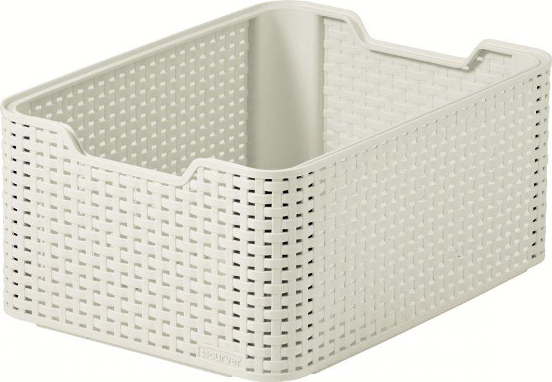 curver style rattan storage box medium white at. Black Bedroom Furniture Sets. Home Design Ideas