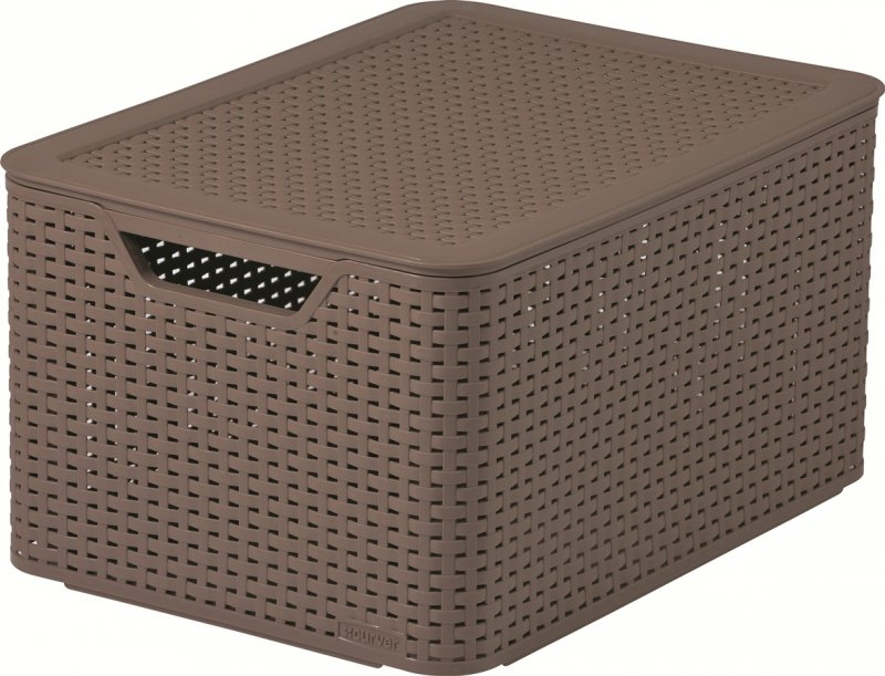 curver style rattan storage box large with lid brown at barnitts online store uk. Black Bedroom Furniture Sets. Home Design Ideas