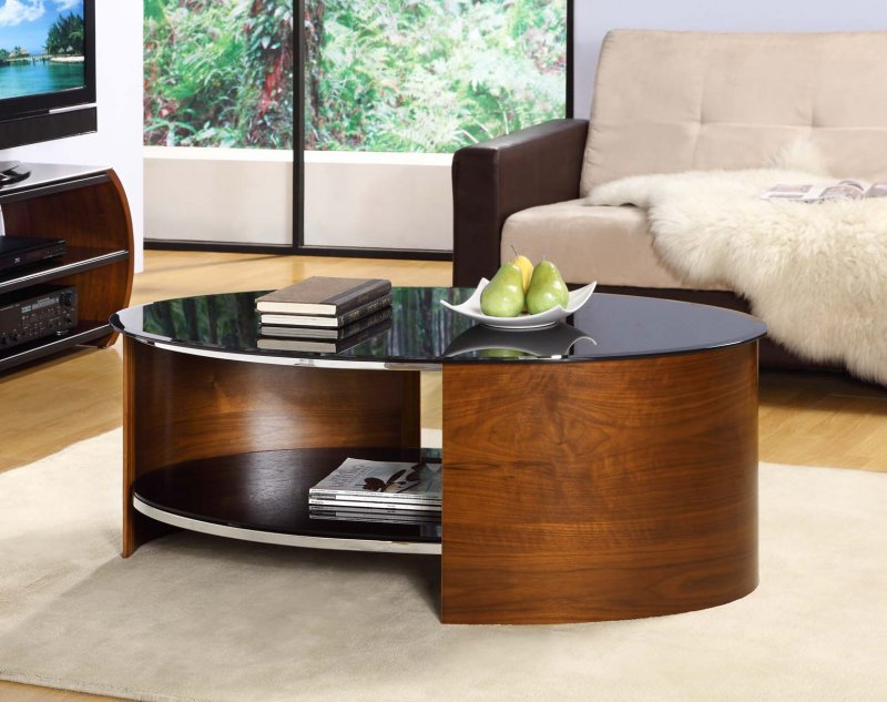 Jual San Marino Walnut & Black Glass Curved Wood Oval ...