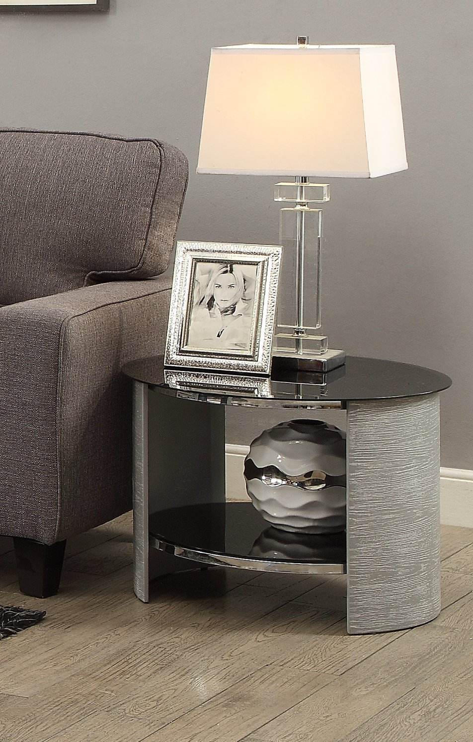 Jual San Marino Grey Ash U0026 Black Glass Curved Wood Round Lamp Table.