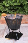 Gardeco Canasta Brazier with Decorative Mesh Panels, BBQ Grill & Collection Plate
