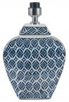 Pacific Lifestyle Mogan Blue and White Geo Design Oval Ceramic Table Lamp